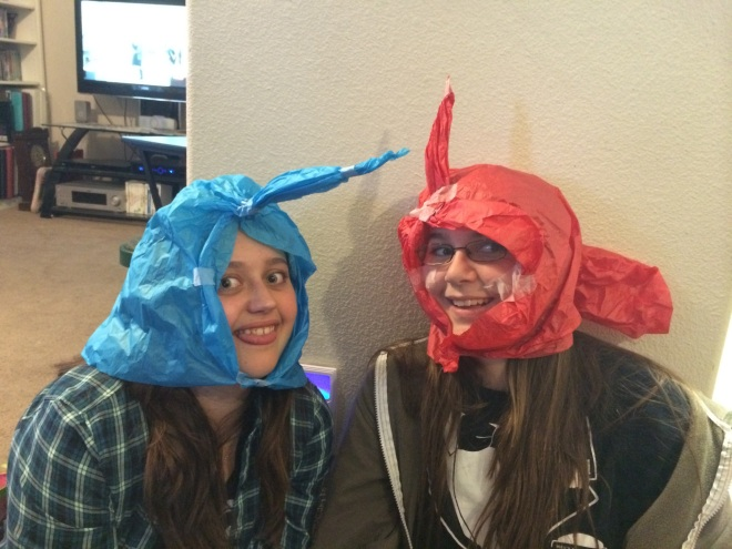 My Human Sisters. Catalina (in the blue ) and Rachel (in the red) They were being really silly.
